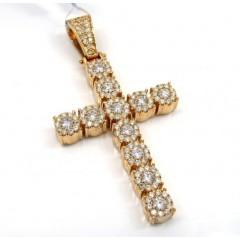 14k Yellow Gold Cluster Diamond Cross 2.20ct