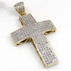 10k Yellow Gold 5 Row Diamond Cross 1.00ct