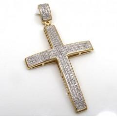 10k Yellow Gold 3 Row Diamond Cross Pendant 0.75ct