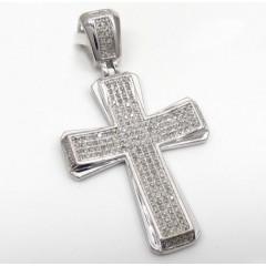 10k White Gold 4 Row Diamond Cross Pendant 0.71ct