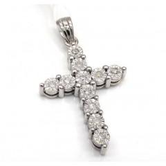 10k White Gold 11 Diamond Cross Pendant 0.15ct