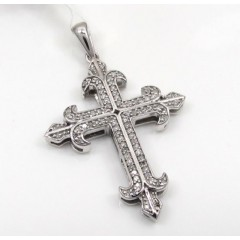 10k White Gold Saint Diamond Cross 0.25ct