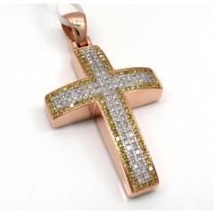 14k Rose Gold Solid Frame Diamond Cross 1.29ct