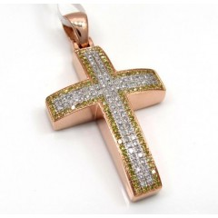 14k Rose Gold Solid Frame Diamond Cross 1.29ct