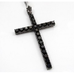10k Gold Blacked Out Skinny Diamond Cross 11.89ct