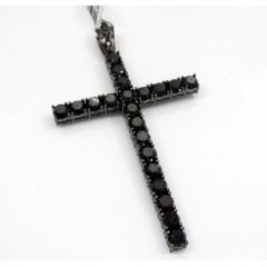 10k Gold Blacked Out Skinny Diamond Cross 11.89ct