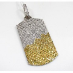 14k White Gold White And Yellow Diamond Dog Tag Pendant 10.50ct