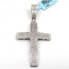 925 Sterling Silver Curved Diamond Cross 1.00ct