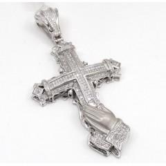 14k White Gold Praying Hands Diamond Cross 2.59ct