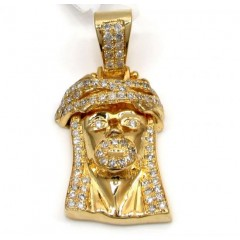 14k Yellow Gold Small Jesus Piece Face Pendant 1.75ct