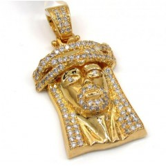 14k Yellow Gold Jesus Piece Diamond Pendant 2.50ct