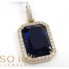14k Yellow Gold Blue Sapphire Diamond Octagon Pendant 0.76ct