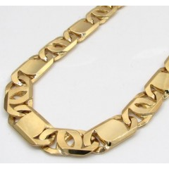 10k Yellow Gold Solid Tiger Eye Chain 24-26 Inch 9.2mm