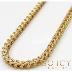 10k Yellow Gold Skinny Hollow Diamond Cut Franco Chain 20-34 Inch 2mm
