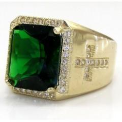 10k Yellow Gold Green Emerald Gemstone Ring 5.00ct