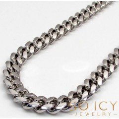 10k White Gold Solid Thick Miami Chain 22-28 Inch 7.8mm