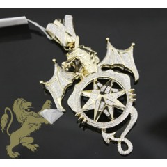 2.20ct 14k Yellow Gold Diamond dragon Pendant