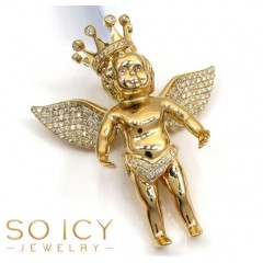 14k Yellow Gold Vs Diamond Baby Cherub Crown Angel Pendant 1.05ct
