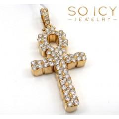 14k Yellow Gold Vs Diamond Ankh Cross 2.15ct