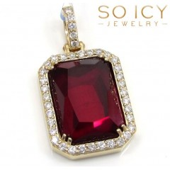 14k Yellow Gold Ruby Red Vs Diamond Octagon Charm Pendant 0.71ct