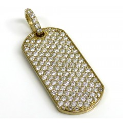 14k Yellow Gold Vs Diamond Dog Tag Pendant 2.20ct