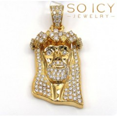 14k Yellow Gold Vs Diamond Ace Crown Jesus Piece Pendant 1.89ct