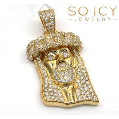 14k Yellow Gold Vs Diamond Miami Link Crowned Jesus Piece Pendant 2.05ct