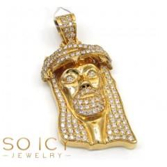 14k Yellow Gold Vs Diamond Thorn Crown Jesus Piece Pendant 3.31ct