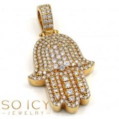 14k Yellow Gold Vs Diamond Fancy Hamsa Pendant 2.50ct