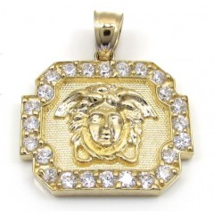 10k Yellow Gold Cz Boxed Halo Medusa Head Pendant 1.00ct
