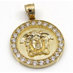 10k Yellow Gold Cz Round Halo Medusa Head Pendant 1.00ct