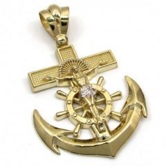 10k Yellow Gold Solid Anchor Jesus Pendant