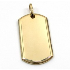 14k Yellow Gold Medium Dog Tag Pendant
