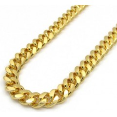 925 Yellow Sterling Silver Miami Link Chain 20-30
