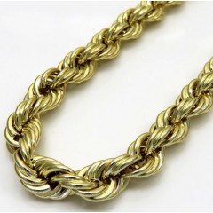 10k Yellow Gold Smooth Semi Hollow Italian Rope Chain 26 Inch 6.50mm