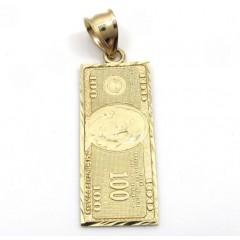 10k Yellow Gold Diamond Cut One Hundred Dollar Bill Pendant