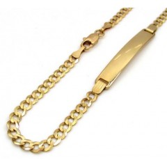 10k Yellow Gold Cuban Id Bracelet 8.50 Inch 3.50mm