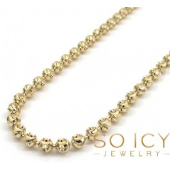 14k Yellow Gold Moon Cut Bead Link Chain 18-30 Inch 3mm