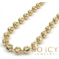 14k Solid Yellow Gold Moon Cut Bead Chain 26-32 Inch 5mm