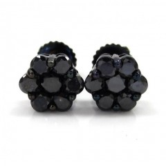 14k Black Gold Black Diamond 6mm Cluster Medium Earrings 0.75ct