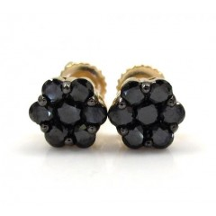 10k Yellow Gold Black Diamond Cluster Medium Earrings 1.00ct