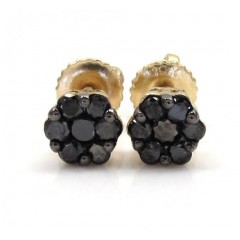 10k Yellow Gold Black Diamond Cluster Small Earrings 0.50ct