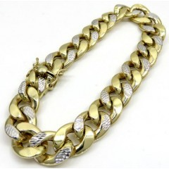 10k Yellow Gold One Sided Diamond Cut Two Tone Cuban Bracelet 9 Inch 12.50mm