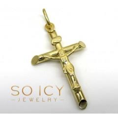 14k Yellow Gold Small Jesus Tube Cross Pendant