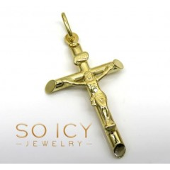 14k Yellow Gold Small Jesus Tube Cross Pendant