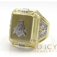 10k Yellow Gold Fancy Two Tone Free Mason G Ring