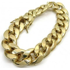 10k Yellow Gold Hollow Cuban Bracelet 9 Inch 15.50mm