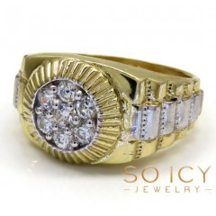 14k Two Tone Cz Large  Presidential Ring 0.55ct