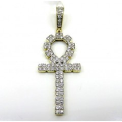 10k Yellow Gold Diamond Square Ankh Cross 1.17ct