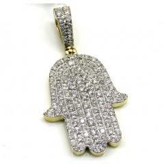 10k Yellow Gold Diamond Hamsa Pendant 1.50ct